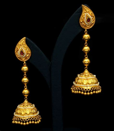 vbj earrings jhumka buttalu gold earrings pinterest