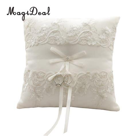 magideal beige floral lace ring pillow cushion ring bearer wedding supplies in