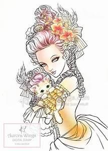 Digital Stamp Marie Nyantoinette Marie Antoinette Holding
