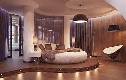 Bedroom Interior Curtains Columns Lamp Chair Bed