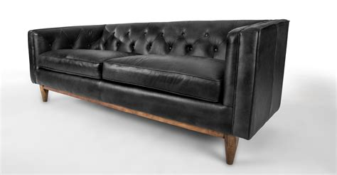 Black Contemporary Sofa by Black Leather Sofa In Walnut Wood Finish Article Alcott