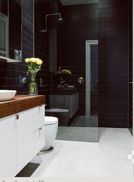 black tiled bathroom black wall tiles white timber vanity bathroom pinterest