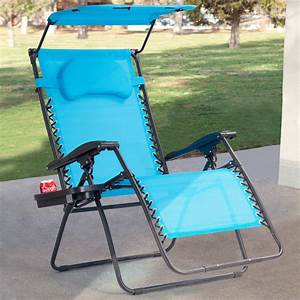 Gymax, Folding, Recliner, Zero, Gravity, Lounge, Chair, W, Shade, Canopy, Cup, Holder, Blue
