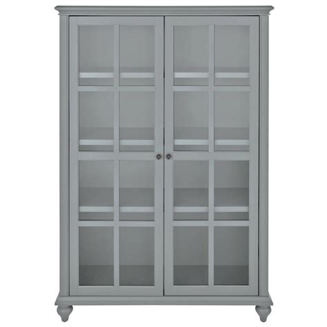 Bookcase Glass Door by Home Decorators Collection Hamilton 60 In H Grey Glass