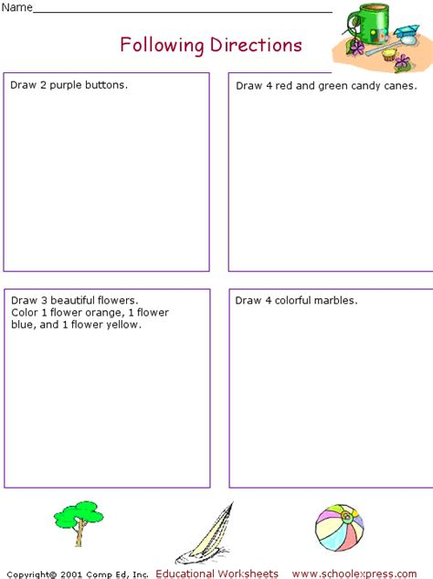 Following Direction Worksheets  New Calendar Template Site