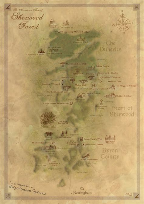 nottingham sherwood forest adventurers map fantasy style