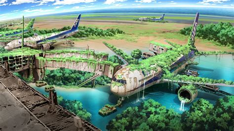 Anime Nature Wallpaper Hd - apocalyptic airplane nature anime aircraft drawing