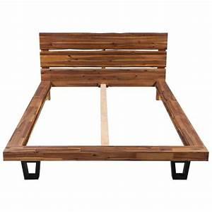 Cadre Lit Bois : acheter vidaxl cadre de lit bois d 39 acacia massif 140 x 200 ~ Teatrodelosmanantiales.com Idées de Décoration
