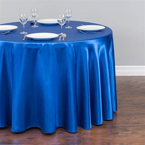 108 in. Round Satin Tablecloth Royal Blue