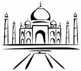 Taj Mahal Coloring Painting Drawing Easy Sketch Netart India Colour Monuments Template Dibujo Line Architecture sketch template