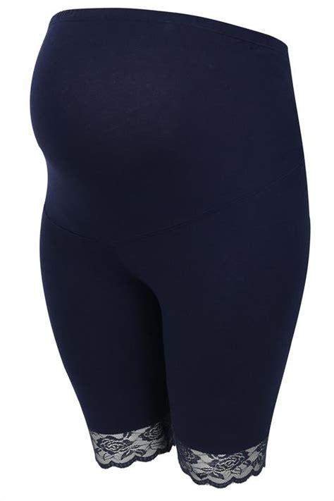 bump   maternity navy cotton elastane legging shorts
