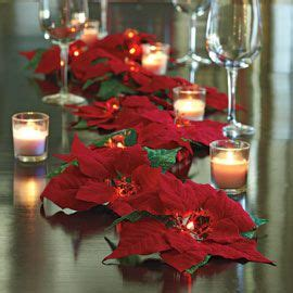 christmas 2013 decor decorations lighted poinsettia garland cordless can do on the table a