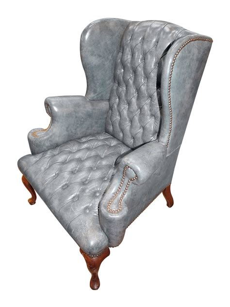 vintage blue gray leather wingback occasional chair with