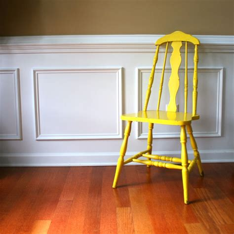 rustic yellow wood chair vintage country home
