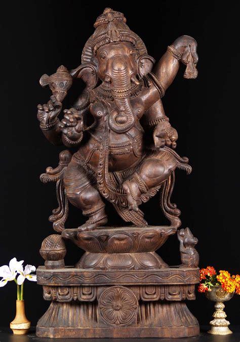 SOLD Wood Joyous Dancing Ganesha Statue 30