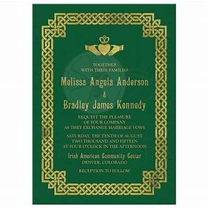 irish celtic wedding invitation green gold claddagh knot With gold wedding invitations ireland