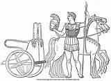 Chariot Greek Ancient Coloring Greece Soldier Bible Spear Armor Horses Description sketch template
