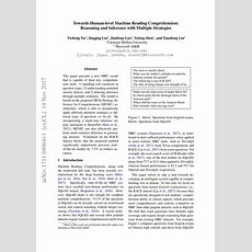 (pdf) Towards Humanlevel Machine Reading Comprehension Reasoning And Inference With Multiple