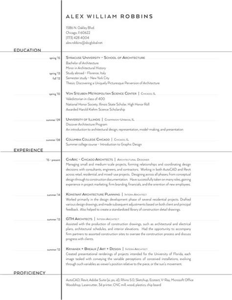 Architecture Resume Exlearchitecture Resume Exles by The Top Architecture R 233 Sum 233 Cv Designs Archdaily