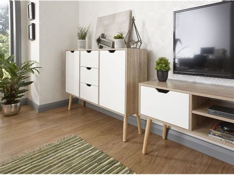 Living Room Sideboard by White Oak 3 Drawers Stockholm Living Room Sideboard