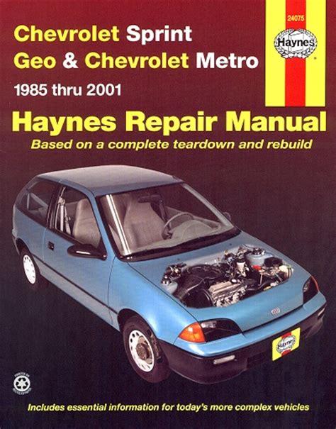 car manuals free online 1992 geo metro parking system chevy sprint metro geo metro repair manual 1985 2001
