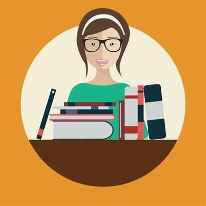 Librarian Vector Illustration Clip Woman Illustrations Flat