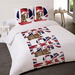 Housse de couette londres london linge de lit londres for Tapis chambre enfant avec housse de couette chiot