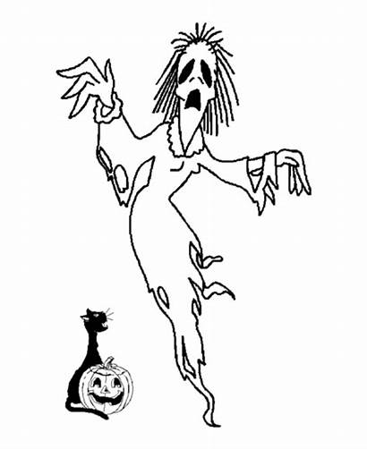 Ghost Scary Coloring Pages Halloween Printable Sheets