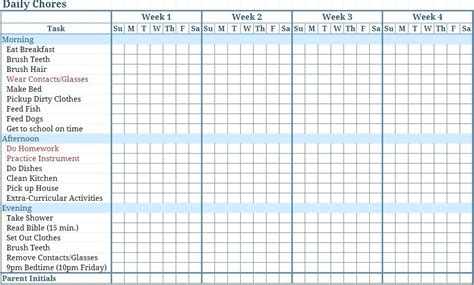 Chore List Template Monthly Chore Charts Custom Chart Template Freetruth Info