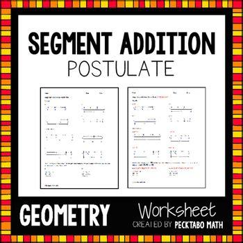 Segment Addition Postulate Geometry Worksheet Free Sample By Pecktabo Math