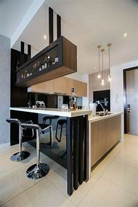 modern kitchen design with integrated bar counter for a With bar counter designs for home