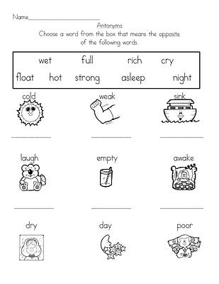 11 best images of antonym worksheets for grade 1 655 | synonym antonym worksheets 595748