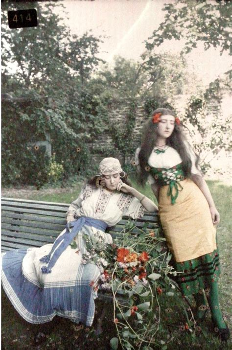 Autochrome of two young women in traditional costume