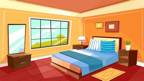 cartoon bedroom interior background template cozy modern