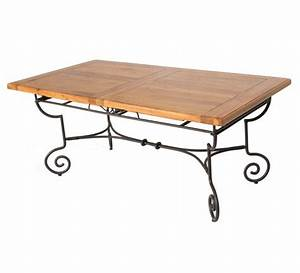 table basse fer forge et bois kirafes With table basse fer forge bois