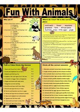 esl habitat worksheets