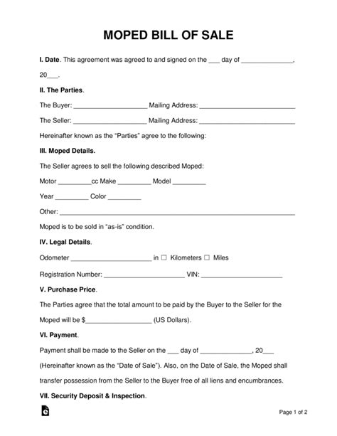 moped scooter bill  sale form  word