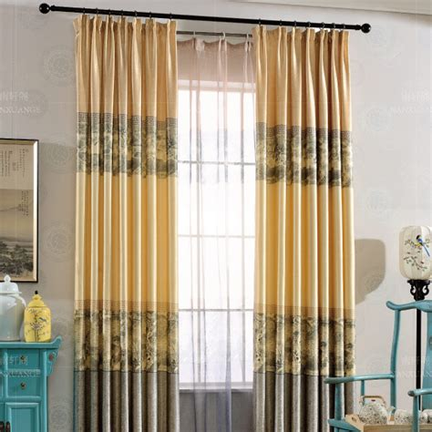 yellow and gray patterned linen cotton blend print vintage color block curtains for bedroom