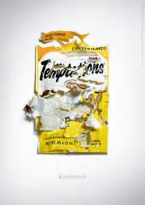temptations cat treats ads show how cats just absolutely destroy bags of