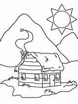 Coloring Cabin Winter Cabins sketch template