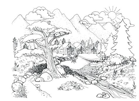 coloring pages nature scenes  getcoloringscom