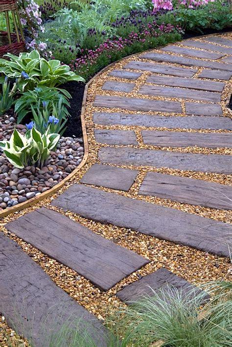 gap gardens curved path  reused railway sleepers