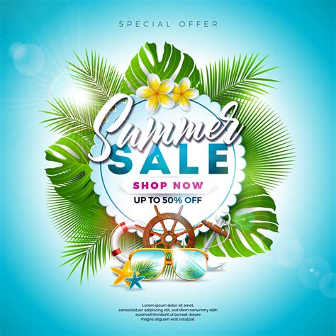 Summer Sale Design with Exotic leaves & Flowers 345789 ...