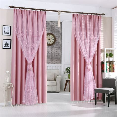 thick pink polyester thermal blackout insulated curtains