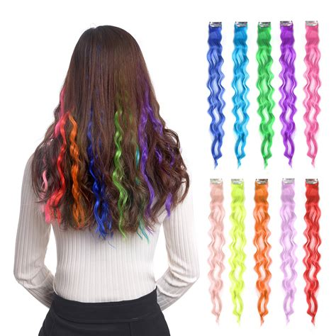 colored extensions 10pcs colored clip in hair extensions 22