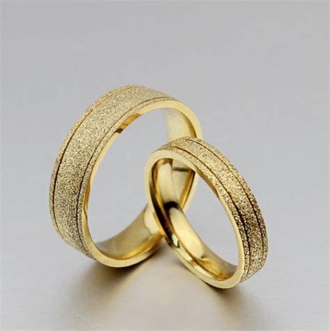 18k gold wedding ring uae 18k gold plated titanium steel dull polish wedding love