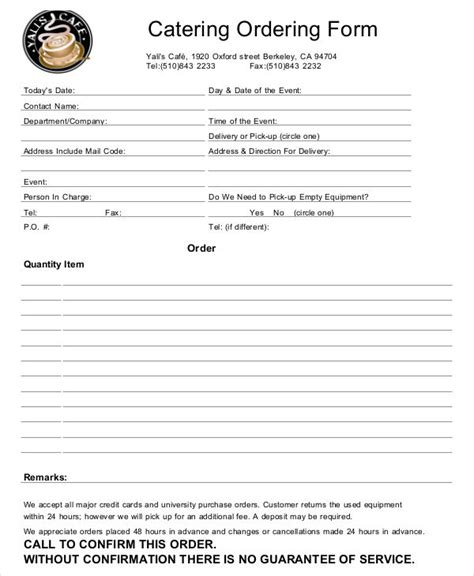 catering order forms ms word numbers pages