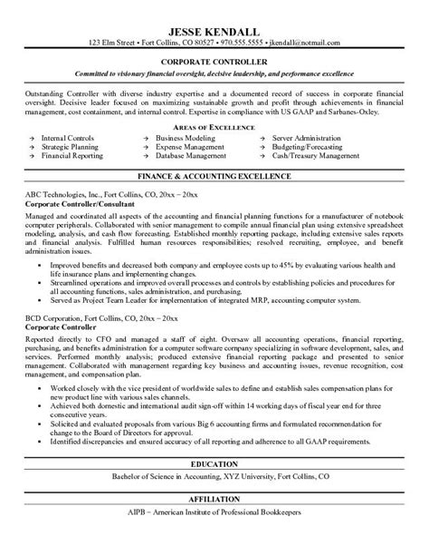 Controller Resume Exle by Free Corporate Controller Resume Exle
