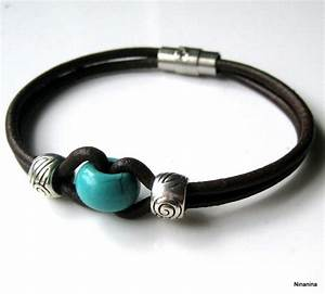 bracelet homme cuir et perle turquoise n3054 turquoise With bijoux homme