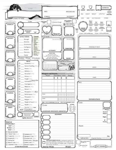 fully loaded 5e character sheet dungeon masters guild wargame vault
